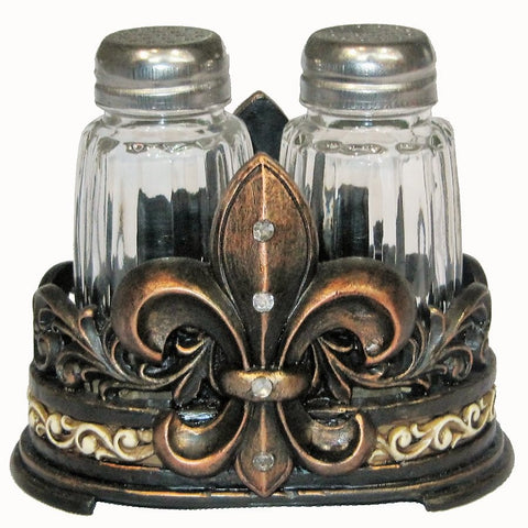 Rustic Art Deco Fleur De Lis Salt & Pepper Shaker Set