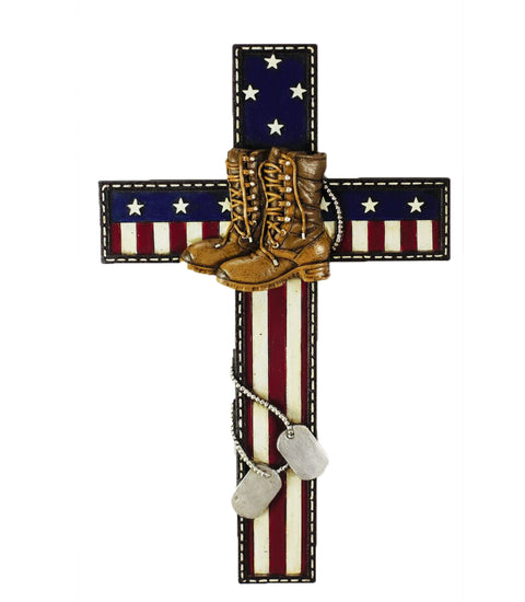 Honoring Military Soldier On American Flag Wall Cross