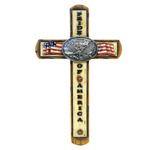 """Pride Of America"" Eagle & American Flag Wall Cross"