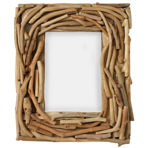 "Driftwood Photo Frame - Hold 4"" x 6"" Picture - Glass Cover"