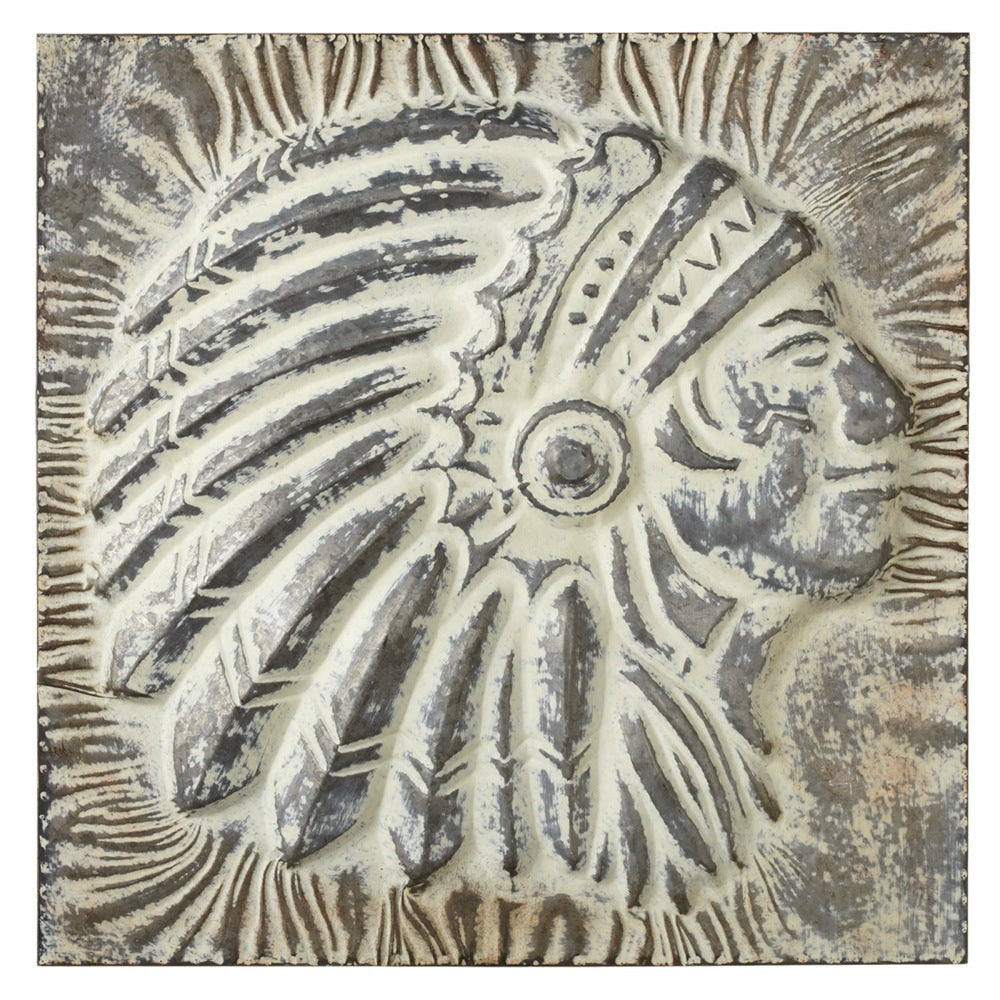 Embossed American Indian Chief Head Wall Art