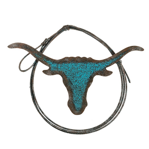 Metal Turquoise Longhorns & Rope Details Wall Decor