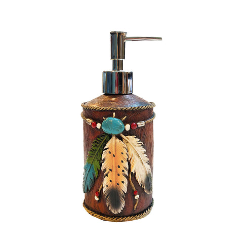 Faux Leather & Feathers Lotion Pump - Soap Dispenser Bottle