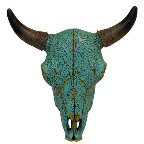 Tribal Tooled Flower Turquoise Steer Skull