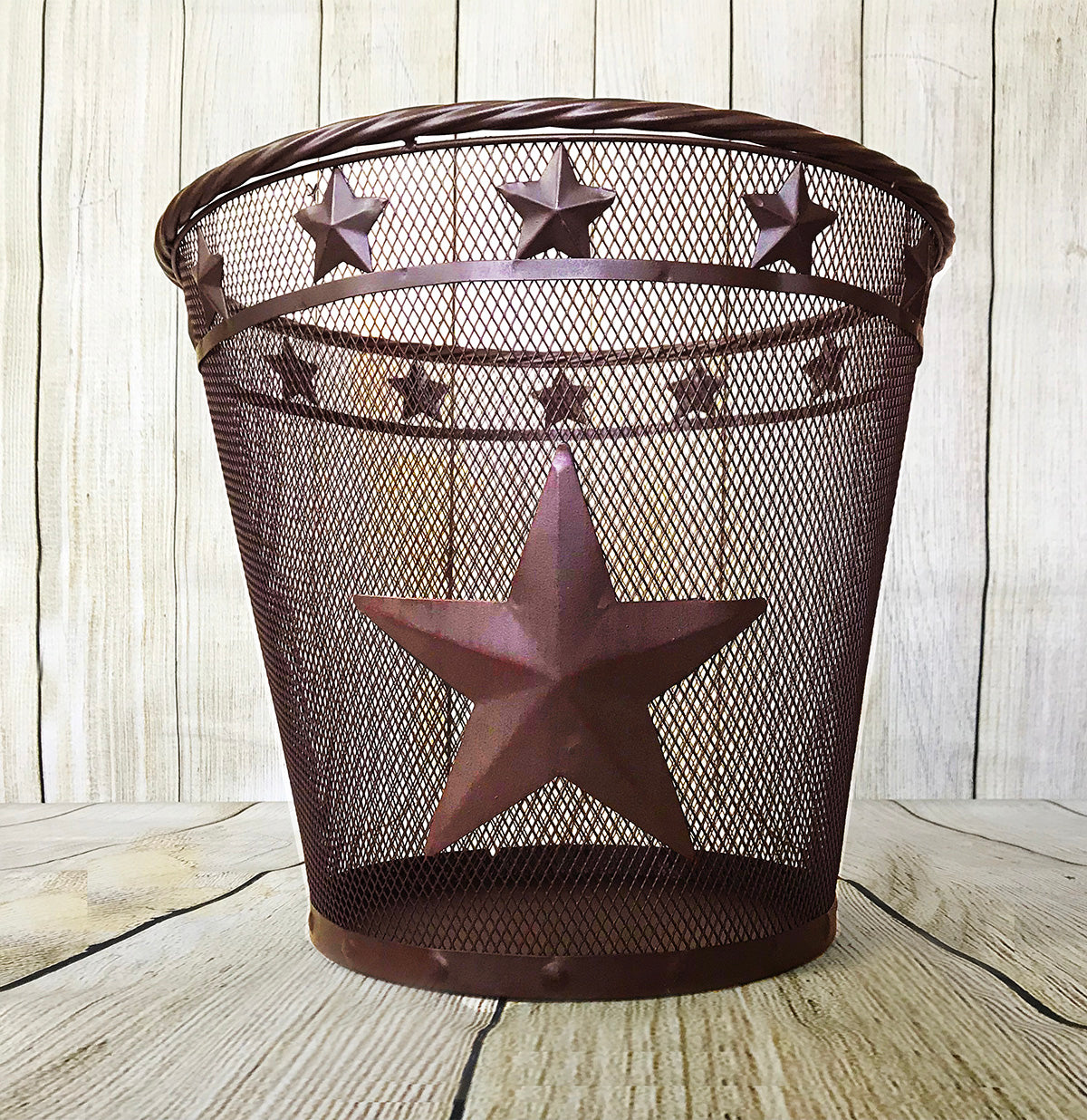 Metal 3D Star Mesh Design Waste Basket