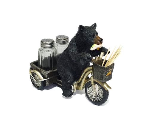 Bear Tricycle Salt & Pepper Holder And Toothpicks Holder
