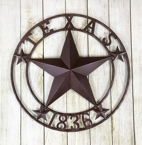 Texas 1836 Metal Star Circle - 24 inch