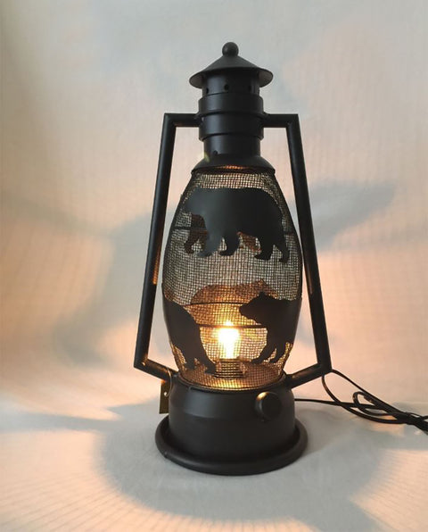 Rustic Black Bear Mesh Metal Lantern Lamp - Electric