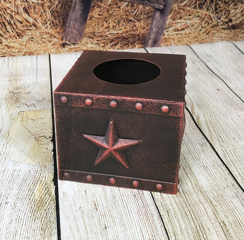 3D Metal Star Square Tissue Box, Copper Finish