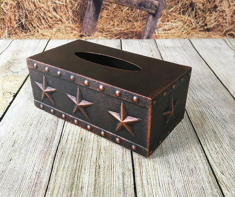 Metal 3D Star Tissue Box in Copper Finish - RECTANGLE