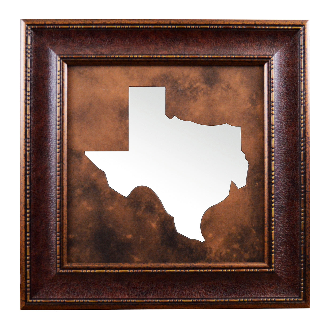 Rustic framed state of texas map mirror wall art