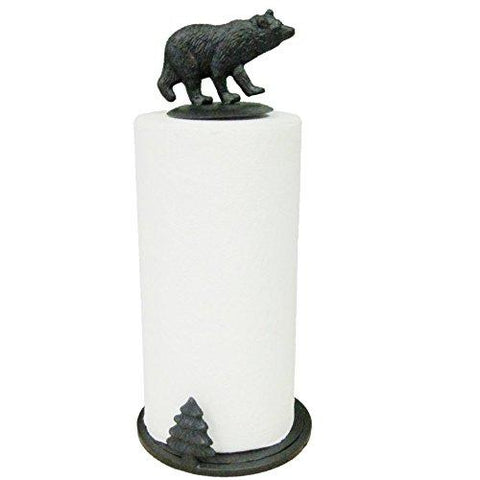 Rustic Black Bear Paper Towel Holder