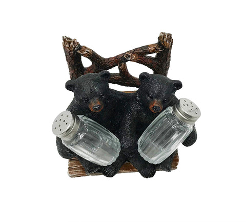 Bears Holding Salt & Pepper Shakers AND Napkin Holder