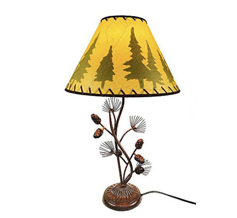 Western Metal Pine Cone Desk Table Lamp Rustic Country Style - Home/Office