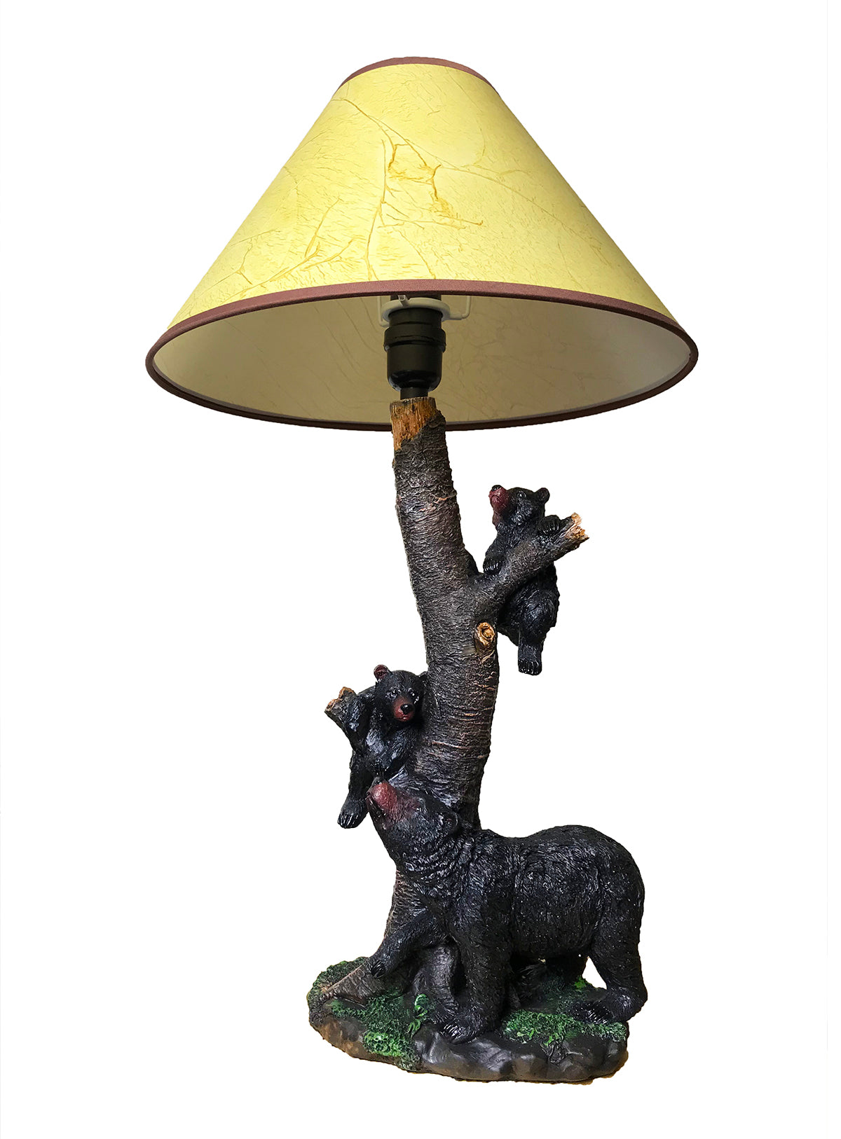 Black Bear And Playful Cubs Table Lamp
