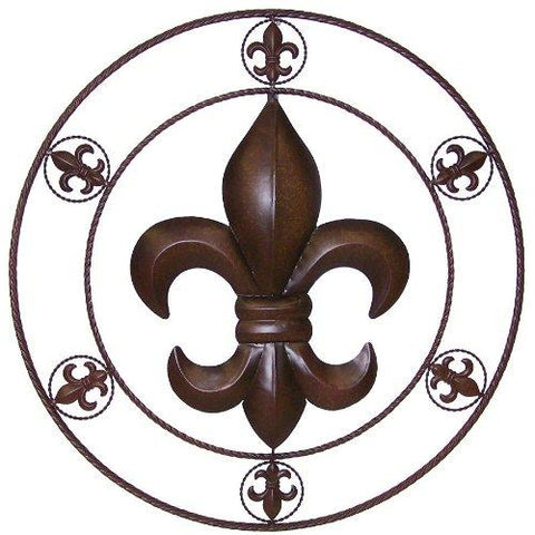 Fleur De Lis Metal Circle Wall Art