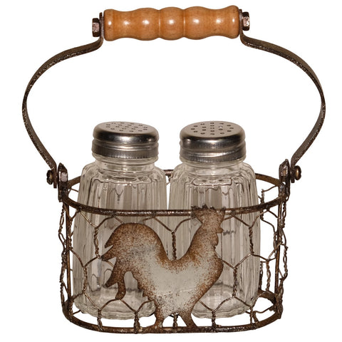 Rooster Salt and Pepper Shakers Set in Vintage Look Chicken Wire Basket