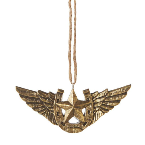 Star & Horseshoe With Golden Wings Ornament