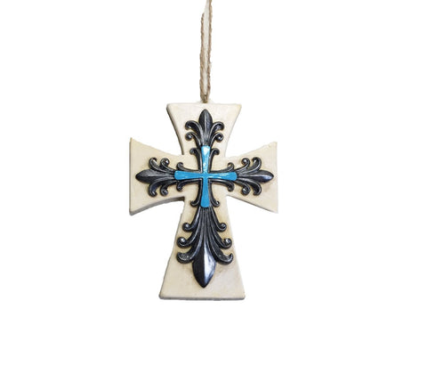 Rustic FLEUR DE LIS Cross Christmas Ornaments - Tree Or Wall Hanging - SET OF 3