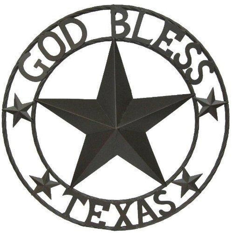 God Bless Texas Metal Circle - 24 inch