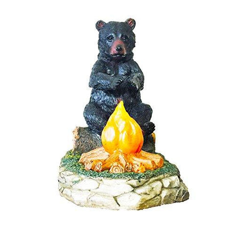 Large Black Bear By Camp Fire Night light