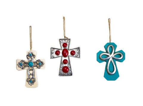 Elegant Rustic Country Cross Ornaments With Silver and Turquoise Accents - Assorted SETS OF 3