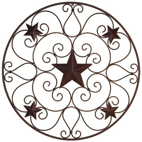 Metal Stars Scrolls Wall Circle - 32 Inch