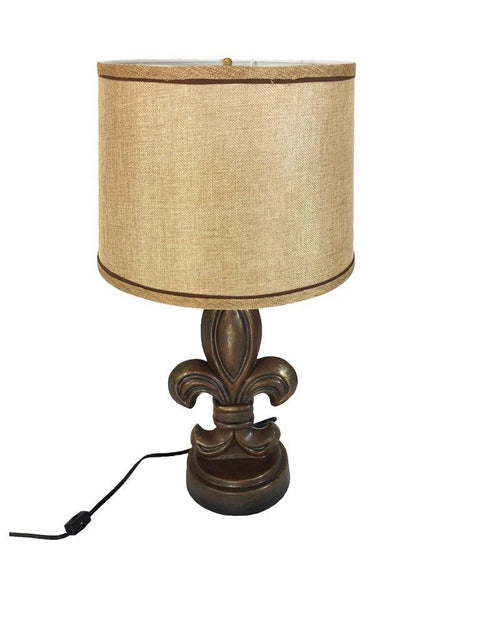 Rustic & Elegant Fleur De Lis Lamp with Shade - French Influenced Style