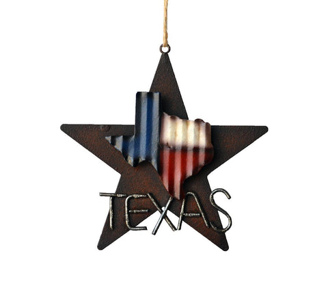 Western Rustic Lone Star 3-D Texas Map  Ornament -