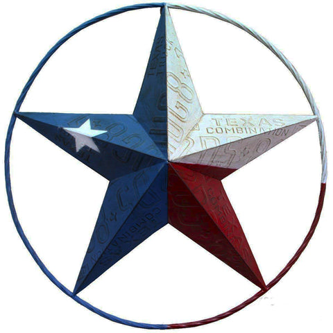 Texas Lone Star License Plate Embossed Metal Circle Wall Art