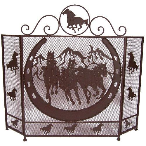 Metal Horse and horseshoe Fire Screen
