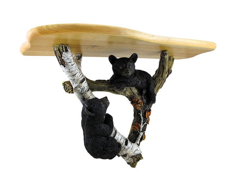 Black Bear Cubs and Tree Decorative Wooden Shelf Wall Sculpture