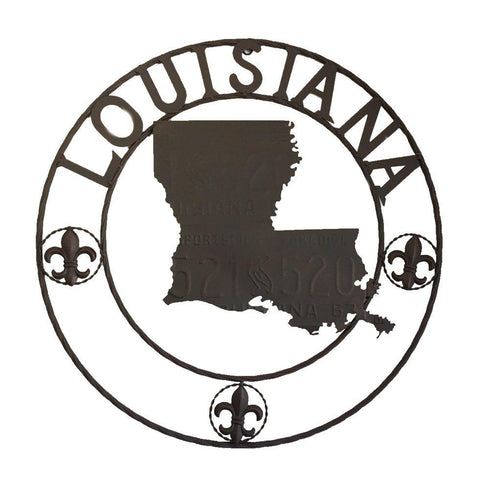 METAL LOUISIANA MAP CIRCLE