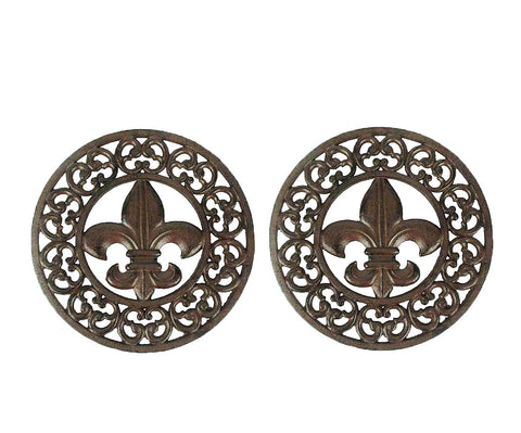 Rustic Fleur De Lis & Scrolls Trivets - Wall/Counter Top 9.75 Inch Round - SET OF 2