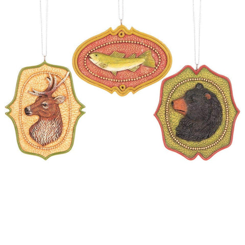 Hunting & Fishing Icon Ornament - Set of 3 Assorted - Wall or Tree Hang