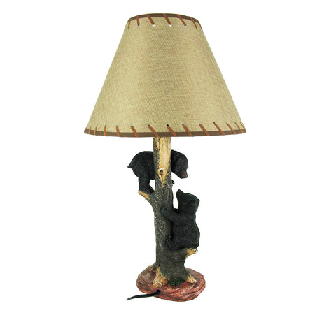 2 Bear Cubs Playing On Tree Rustic Wildlife Table Lamp