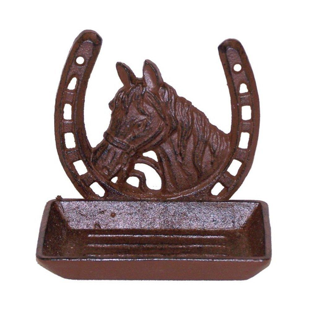 Cast Iron Horse In Horseshoe Soap Dish - Counter top or wall mount
