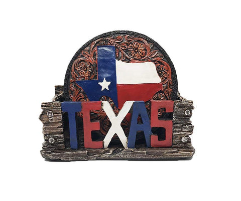 Patriotic Texas Map Coaster Set - Four Coasters, One Holder, Polyresin - Rubber Feet