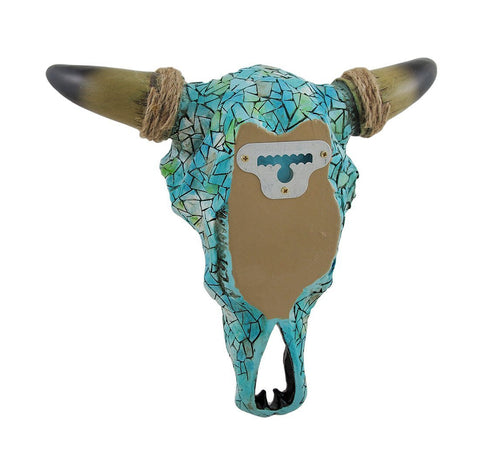 Southwestern Mosaic Turquoise Steer Skull Wall Sculpture