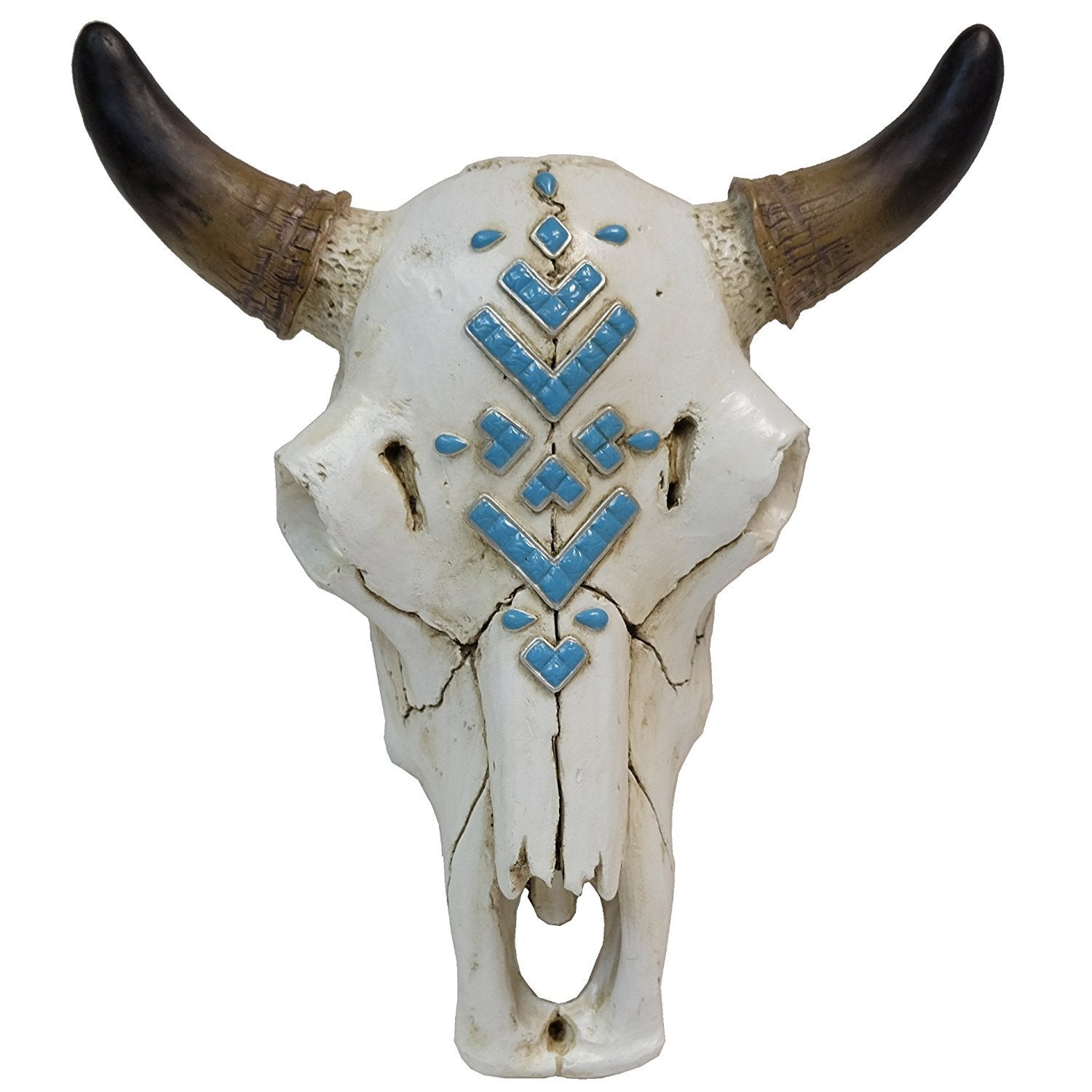 Bull Skull with Turquoise Stones Inlay