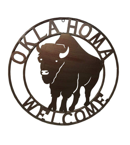 OKLAHOMA BUFFALO Welcome Wall Hanging Metal Circle - Rustic Brown