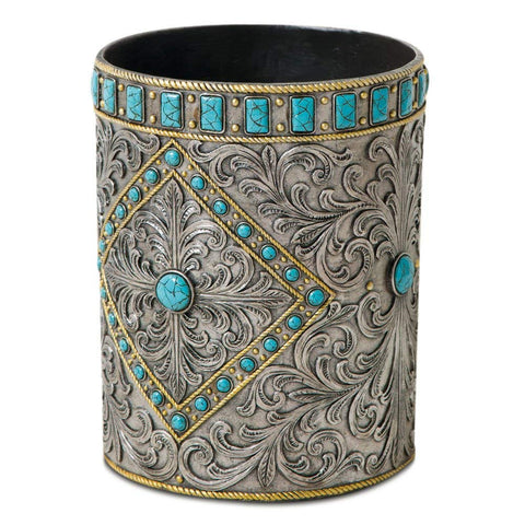 Turquosie and Silver Studded Western Wastebasket
