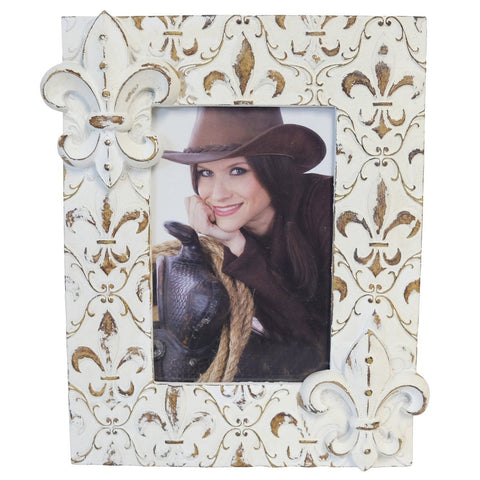 "Chalk White Fleur De Lis Picture Frame - Fit 4"" x 6"" Photo"