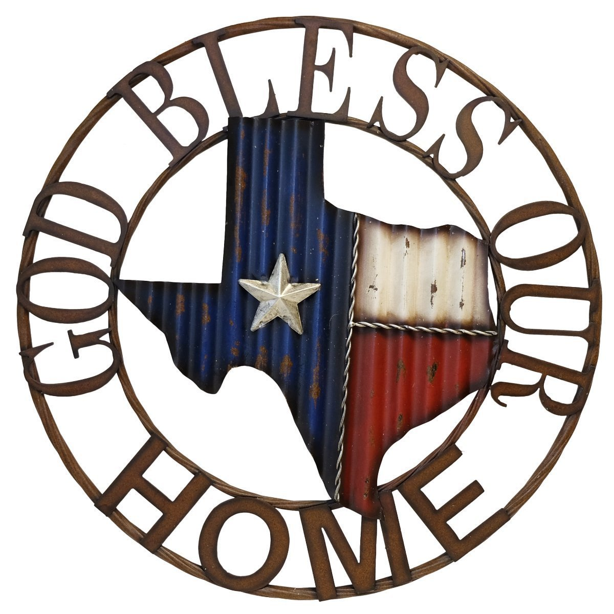 """God Bless Our Home"" Texas Map Metal Circle  Wall Art"
