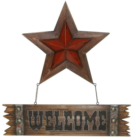 STAR WOOD AND METAL WELCOME SIGN
