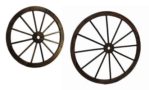 Pair Of Wooden Wagon Wheel Wall Sculptures 24 inch & 32 inch