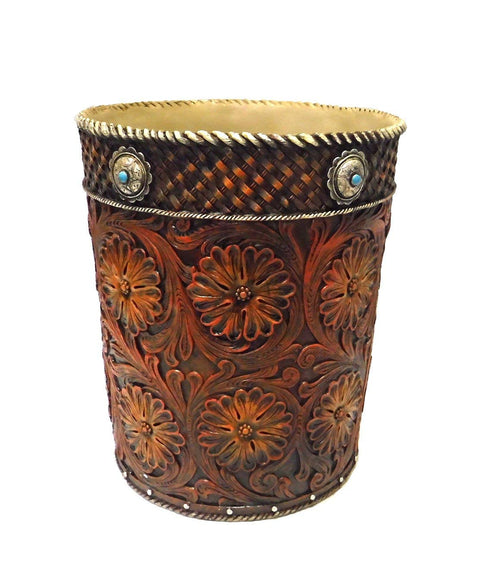 Western Tooled Saddle Leather-look Wastebasket