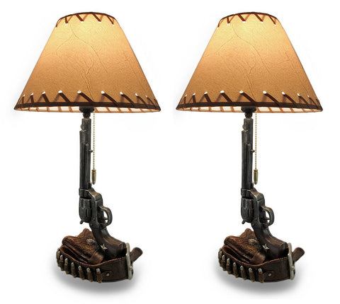 SIX SHOOTER REVOLVER AND PISTOL WESTERN LAMP - set of 2