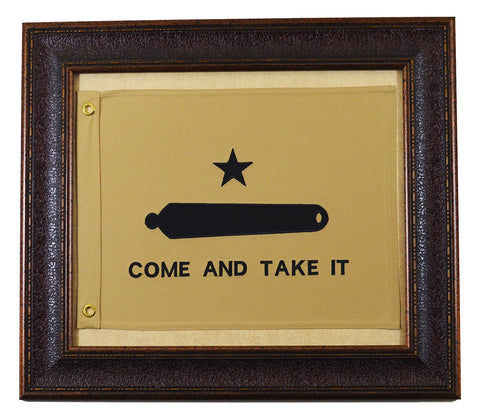 Small Come And Take It Framed Flag Aged USA Real Rustic Western