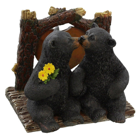 Black Bears Kissing Napkin Holder - Rustic Cabin Art